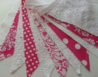 Lace and PInk Banner, Fabric Banner, Wedding, Nursery Decor, Sweet 16, Fushia Pink, Eyelet Lace, Dots, Damask, Ready to Ship!