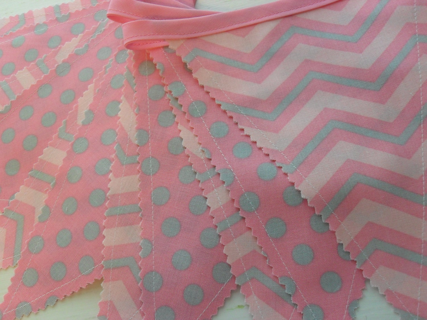 Fabric banner bunting banner pink and grey fabric by for Pink and grey nursery fabric