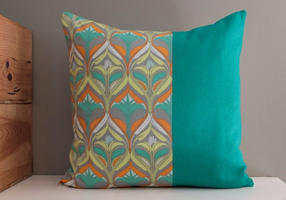 turquoise grey orange pillow cover 18 x 18 inch pillow cover. Black Bedroom Furniture Sets. Home Design Ideas
