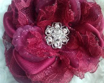 Wild rose collection-crimson flower, deep red wedding fascinator, handmade red satin and lace flower, crimson wedding/photography prop