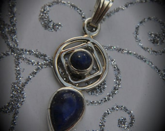 Genuine Solid Sterling Silver Lapis Drop Stone
