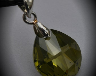 Small AAA Silver Plated Flat Drop Pendant With Olive Green Cubic Zirconia