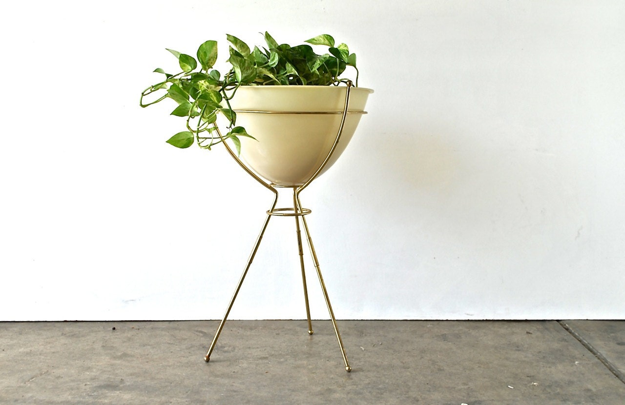 mid century plant stand brass tripod base with ivory plastic. Black Bedroom Furniture Sets. Home Design Ideas