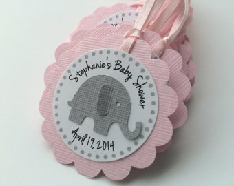 20 Pink and Grey Elephant Personalized Tags.  Perfect for Baby showers or birthday parties