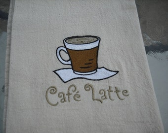 Cafe Latte flour sack towel. Machine embroidered.
