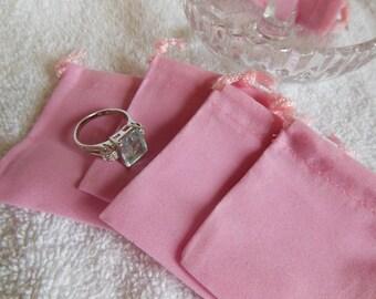 25 Pink Mini velvet-velour bag - package jewelry necklaces earrings