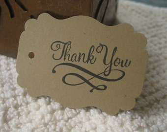 Kraft Thank You tags  - 25 tags hand stamped