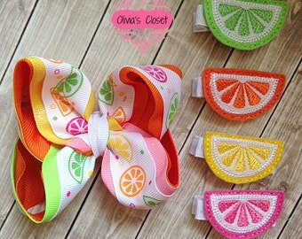 Citrus Boutique Bow Set of 5 Includes Boutique Bow & 4 Citrus Clippies