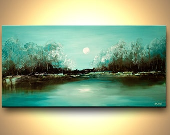 """Modern Landscape Painting Turquoise Abstract Acrylic Painting Blooming Trees by Osnat - MADE-TO-ORDER - 40""""x20"""""""