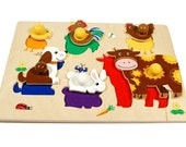 Montessori toy for toddlers - animal wooden puzzle (age 1,5 - 3 years)