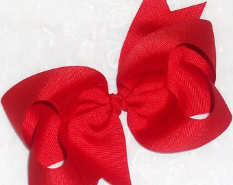 "SALE-Red Hair Bow Red Bow Red Christmas Bow Big Red Bow Large Red Bow 5"" Boutique Hair Bow Toddler Bow Girls Bow Big Hair Bow Red Hair Clip"