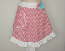 Cute Womens Coral Chevron Print Half Apron with Ruffle and Pocket