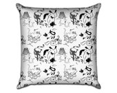 """Party Cats - Original Pattern Sofa Throw Pillow Envelope Cover for 18"""" inserts"""