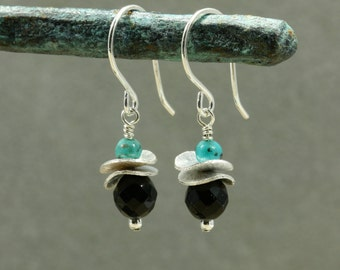 Onyx and Turquoise Earrings with Sterling Silver Wavy Discs, Drop Earrings, Onyx Earrings, Small Earrings, Petite Earrings, Black Earrings