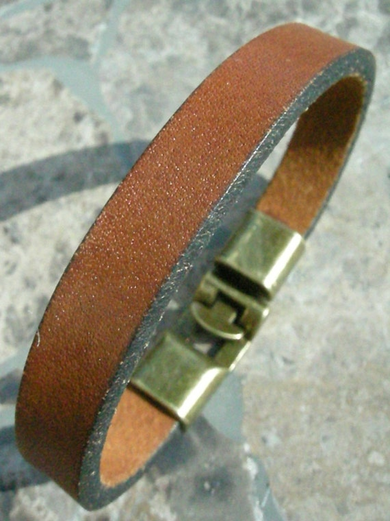 Brown Leather Bracelet with Brass Clasp Recycled Reclaimed Cuff BRN-224-1
