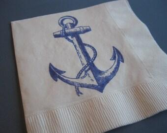 50 Anchor PAPER NAPKINS Nautical Baby Shower Decor Nautical Wedding Anchor Theme Nautical First Birthday Nautical Wedding Paper Napkins