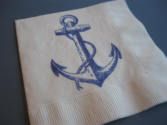 50 Anchor PAPER NAPKINS Nautical Wedding Decor Party Decorations Nautical Baby Shower Decor Nautical Wedding Anchor Theme Nautical Signs