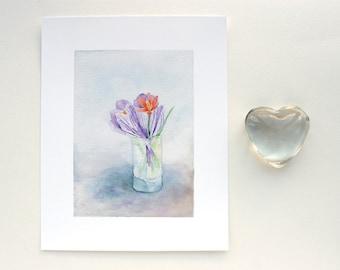 Crocuses Tulip Bouquet, Watercolor Painting Giclée Print Flowers Botanical Floral Spring Bouquet Purple Blue Gray Orange Red Still Life