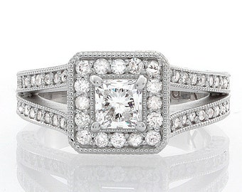 GIA Princess & Round Cut Diamond Engagement Ring 2.02 CTW Pave Style 14k W/G