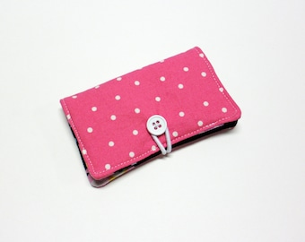 White Small Dots on Pink Fabric Business Card Holder, with Pink Green Blue Owls - Credit Card Holder, Cloth Card Holder, Gift Card Holder