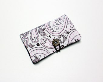 Pink Brown Paisley Fabric Business Card Holder, with Pink Dots on Brown - Credit Card Holder, Cloth Card Holder, Gift Card Holder