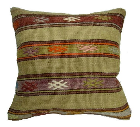 Sale-Vintage Turkish Kilim Pillow Cover, 16x16, Delivered in 2-3 days with tracking number