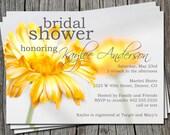 Custom Yellow Daisy Flower Bridal Wedding Baby Shower or Birthday Invitation Card