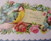Charming Victorian Calling Card-Little Bird and Roses