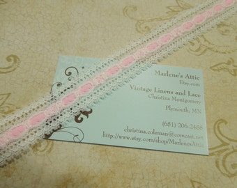 1 yard of 3/4 inch White and Pink Chantilly lace for valentines, sweetheart, bridal, baby girl, lingerie by MarlenesAttic - Item VV8