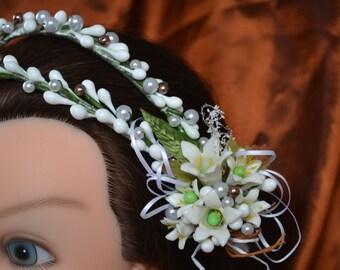 Wedding Headpiece Tiara made with Wax - coronas de Azahares -(style 2) ready to ship!