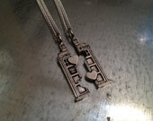 Phone Booth Double Heart Friendship Necklace and Bracelet Set