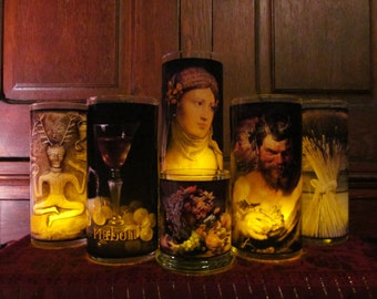 The Mabon Harvest Candleholder set of 7: sabbats, altar, ritual, centerpiece, decor, decorations,fall, celebration, god, goddess, Pan