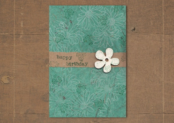 Mint Birthday Card - Handmade Greeting Card with flower wooden shape