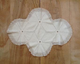 SALE Vintage Crochet Doily - Farmhouse White Rustic