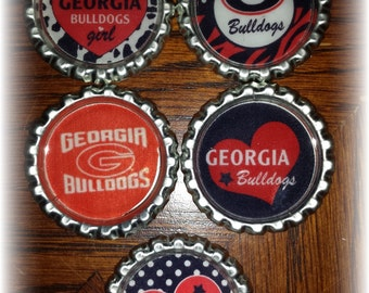 Georgia College Football Bottle Caps- set of 5