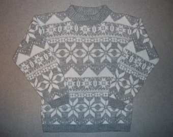 Grey Nordic Ski Skiing Sweater Snow Snowflake Snowflakes Tacky Gaudy Ugly Christmas Sweater Party X-Mas S Small