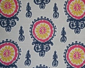 """TWO Curtain Panels, 25"""" x 84"""" - Yellow, hot pink, Navy Medallions with light grey background"""
