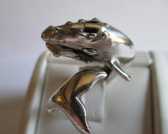 Sterling Silver GREY WHALE RING Sizes 7-12