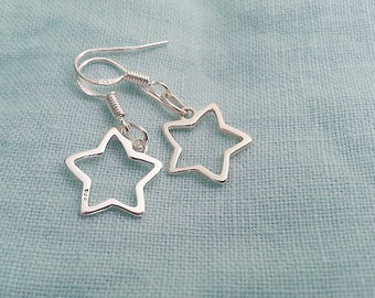 Star Earrings. Sterling Silver Earrings. Star Charms. Star Outline. Delicate Minimal. Tiny Star. Wire Star. Star Jewelry, Christmas Gift