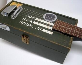 G.I. Joe locker Box Cigar Battle Axe Acoustic Electric Guitar Handmade