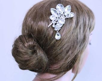Bridal Hair Comb, Wedding Hair Comb, Large Rhinestone Crystal Hair Comb, Dangle Hair Comb, Large Crystal Hair Comb, Hair accessory