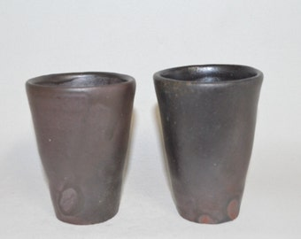 Black cups 4419, matte black, wood fired