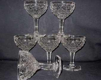 "Set of 5 Fostoria American 4-3/4"" Tall Sherbet Champagne Desserts Mint Unused Condition"