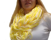 Yellow Arm Knit Circle Scarf,Spring Infinity Scarf, Yellow Arm Knitted Cowl, Yellow Arm Knit Scarf, Super Chunky Scarf, Teens Infinity Scarf