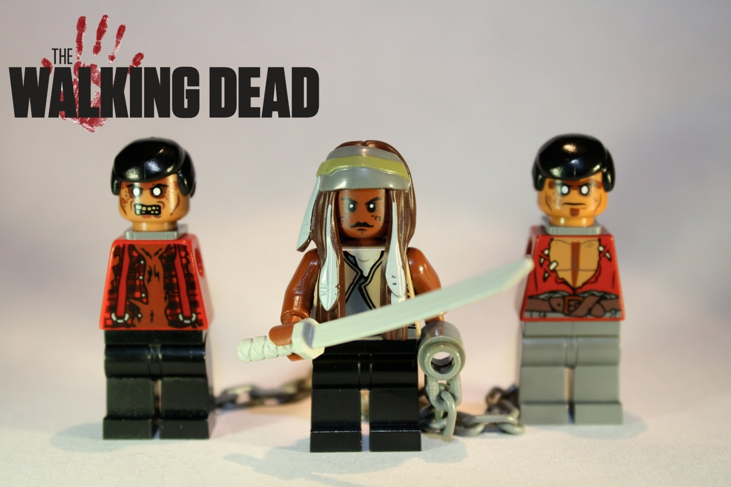 lego custom the walking dead zombie hunter michonne with pets. Black Bedroom Furniture Sets. Home Design Ideas