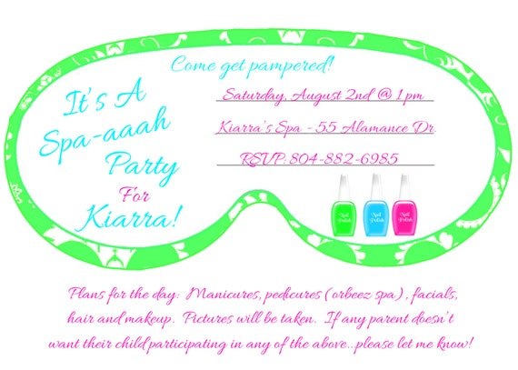 Makeover spa mask birthday invitation by topacake on etsy for Spa mask invitation template