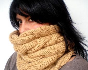 Camel Braided Fashion   Cowl Super Soft Neckwarmer  Chunky Texture Woman/Men Cowl NEW