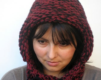 Bordeaux  and Black Double Spirit Knit Hood Super soft wool Woman Reversible Hooded Cowl Chunky Hoodie