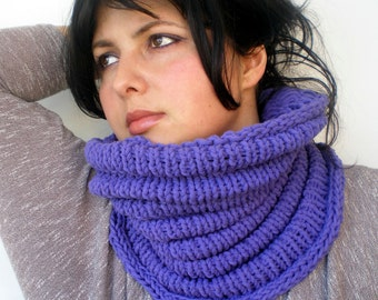 Purple Wave   Cowl Super Soft  Neckwarmer Women / Men Chunky Mixed Cotton  Cowl NEW