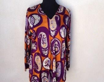 Vintage festival Mod micro mini dress or tunic top paisley purples sz M